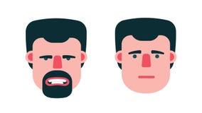 Fronte delle emozioni dell'uomo royalty illustrazione gratis