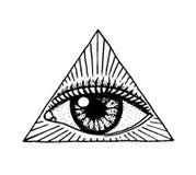 Fronte dettagliato vedere occhio nel triangolo Materiale illustrativo del tatuaggio di modo per le ragazze inciso disegnato a man Fotografie Stock