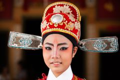 Fronte di bella attrice cinese di opera con la pittura del fronte Cl Immagini Stock Libere da Diritti