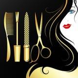 Fronte di bella ragazza con i riccioli dei capelli per un salone di bellezza illustrazione di stock