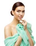 Fronte di bellezza della donna, giovane ritratto di Skin Care Makeup del modello di moda fotografie stock libere da diritti