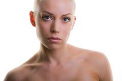 Fronte di bellezza di bella giovane donna con il franco pulito Fotografia Stock