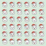 Fronte di emozione del coniglio di Santa in vario expession, linea editabile icona royalty illustrazione gratis