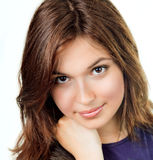Fronte di giovane donna con pelle pulita perfetta Immagini Stock Libere da Diritti