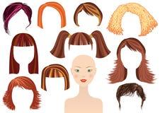 Fronte di Hairstyle.Woman ed insieme dei tagli di capelli Fotografia Stock Libera da Diritti