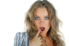 Fronte di meraviglia della donna di bellezza con la bocca aperta Immagini Stock