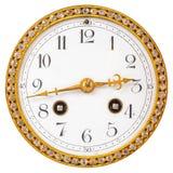 Fronte di orologio antico con i diamanti isolati su bianco Fotografia Stock
