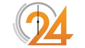 Fronte di orologio 24 che conta alla rovescia illustrazione di stock