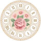 Fronte di orologio d'annata con le rose Immagini Stock