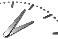 Fronte di orologio semplice con le mani ed i segni del metallo Fotografie Stock Libere da Diritti
