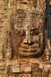 Fronte di pietra gigante al tempio di Bayon in Cambogia Fotografia Stock