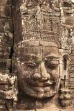 Fronte di pietra gigante in tempio di Prasat Bayon, complesso di Angkor Wat, Sie Fotografie Stock Libere da Diritti