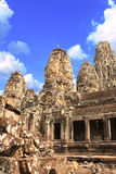 Fronte di pietra gigante in tempio di Prasat Bayon, complesso di Angkor Wat, Sie Fotografia Stock Libera da Diritti