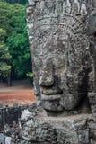 Fronte di pietra in tempio di Bayon, Angkor Wat Fotografia Stock