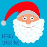 Fronte di Santa Claus. Fiocchi di neve. Buon Natale c Fotografia Stock