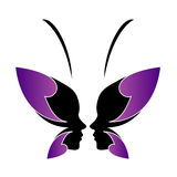 Fronte di una signora e di una farfalla Immagini Stock