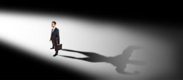 Fronte diritto dell'uomo d'affari alla luce Fotografia Stock