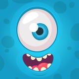 Fronte divertente dell'occhio del mostro uno Illustrazione di vettore Mostro del fumetto di Halloween fotografia stock