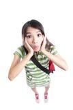 Fronte divertente sorpreso della ragazza dell'allievo Fotografia Stock