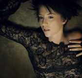 Fronte e capelli di scarsità graziosi Fotografia Stock