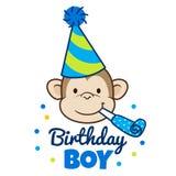 Fronte felice della scimmia in cappello del partito royalty illustrazione gratis