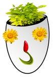 Fronte felice fatto con i fiori immagine stock libera da diritti