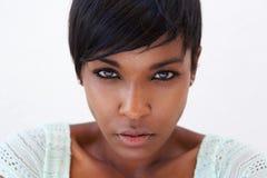 Fronte femminile afroamericano del modello di moda Fotografie Stock