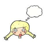 fronte femminile confuso del fumetto con la bolla di pensiero Fotografia Stock