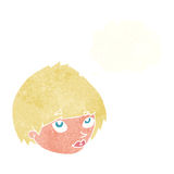 fronte femminile del fumetto che cerca con la bolla di pensiero Immagine Stock
