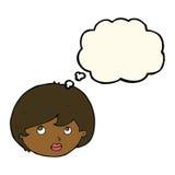 fronte femminile del fumetto che guarda verso l'alto con la bolla di pensiero Fotografie Stock Libere da Diritti