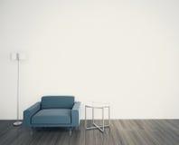 FRONTE interno moderno minimo della poltrona UNA PARETE IN BIANCO Fotografie Stock