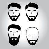 Fronte isolato con i baffi, barba, insieme di logo di vettore dei capelli Emblema del negozio di barbiere degli uomini illustrazione vettoriale