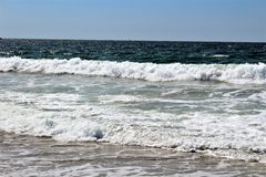 Fronte mare alla spiaggia California di Hermosa nella contea di Los Angeles, California, Stati Uniti fotografie stock libere da diritti