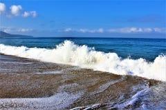 Fronte mare alla spiaggia California di Hermosa nella contea di Los Angeles, California, Stati Uniti immagini stock