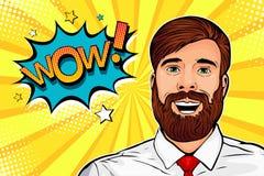 Fronte maschio dei pantaloni a vita bassa di Pop art di wow L'uomo sorpreso con la barba ed apre il fumetto della bocca wow Pop a illustrazione vettoriale