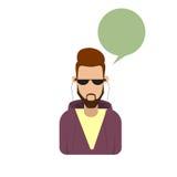 Fronte maschio della siluetta di Guy Beard Portrait Casual Person del fumetto dei pantaloni a vita bassa dell'uomo dell'avatar de Immagine Stock