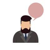 Fronte maschio della siluetta di Guy Beard Portrait Casual Person del fumetto dei pantaloni a vita bassa dell'uomo dell'avatar de Immagine Stock Libera da Diritti
