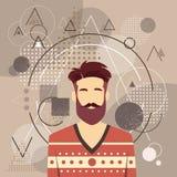 Fronte maschio della siluetta di Guy Beard Portrait Casual Person di modo di stile dei pantaloni a vita bassa dell'uomo dell'avat Immagini Stock