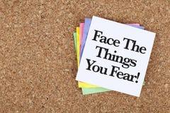 Fronte motivazionale del messaggio di incoraggiamento le cose che temete Fotografia Stock