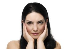 Fronte naturale della donna con la pelle di salute Immagine Stock