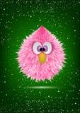 Fronte peloso del mostro del bambino rosa divertente illustrazione di stock