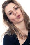 Fronte potabile faticoso della donna Fotografia Stock Libera da Diritti