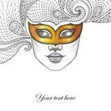 Fronte punteggiato della ragazza nella maschera veneziana Colombina di carnevale dell'oro e pizzo decorativo nel nero su fondo bi royalty illustrazione gratis