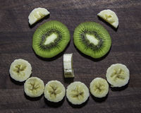 Fronte Smily della banana e del kiwi Immagine Stock
