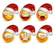 Fronte sorridente degli emoticon del Babbo Natale con l'insieme delle espressioni facciali per natale illustrazione di stock