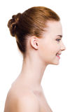 Fronte sorridente della donna con pelle libera Fotografia Stock