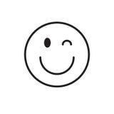 Fronte sorridente Wink Positive People Emotion Icon del fumetto illustrazione di stock