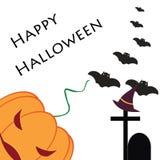 Fronte spaventoso della zucca sulla festa di Halloween su un fondo bianco Fotografia Stock