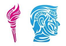 Fronte stilizzato dell'uomo e della torcia nel profilo royalty illustrazione gratis