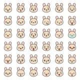 Fronte sveglio di emozione del coniglio in vario expession, linea editabile icona illustrazione di stock